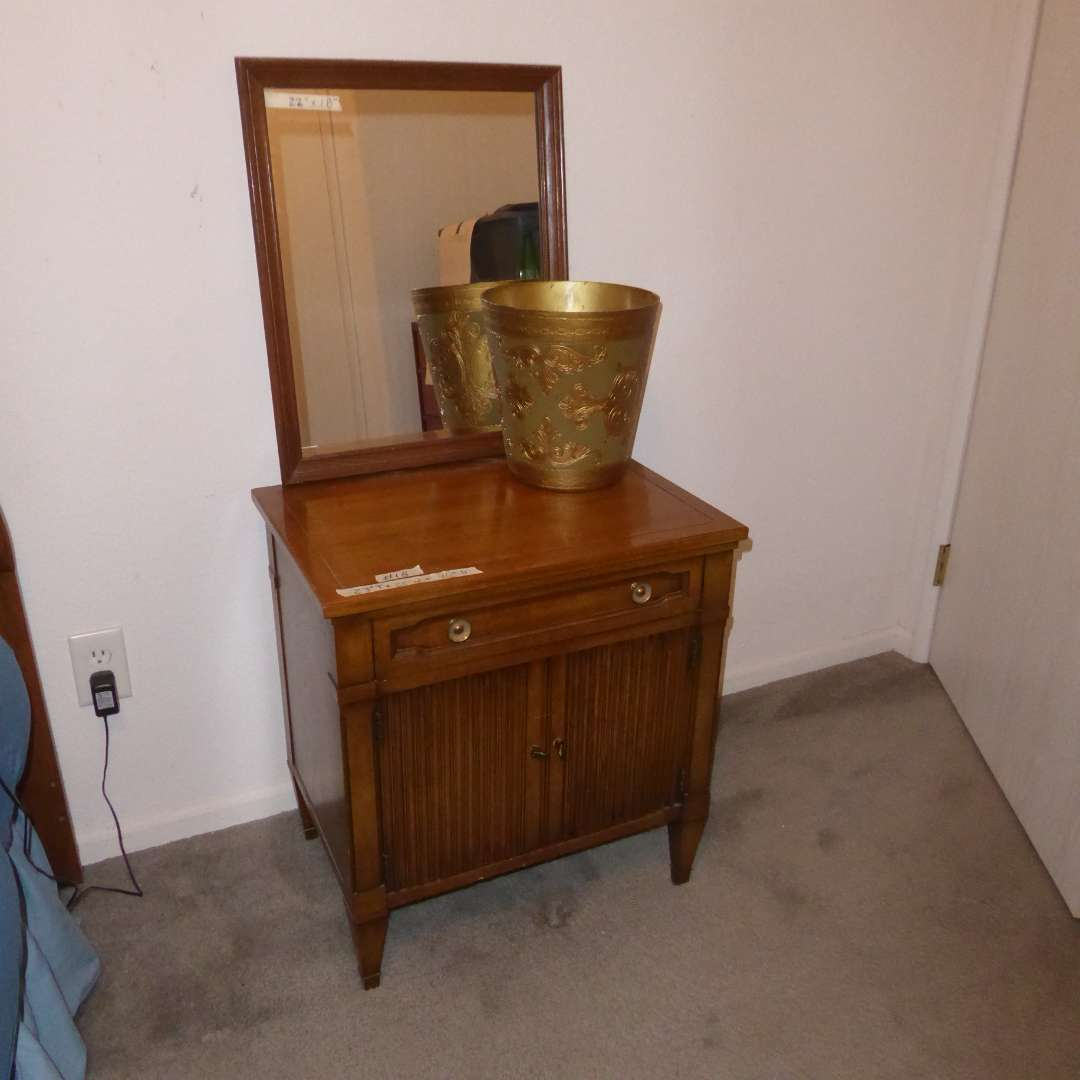 Lot # 18 - Small Mahogany Cabinet By: Drexel, Wood Framed Mirror & Trash Bin