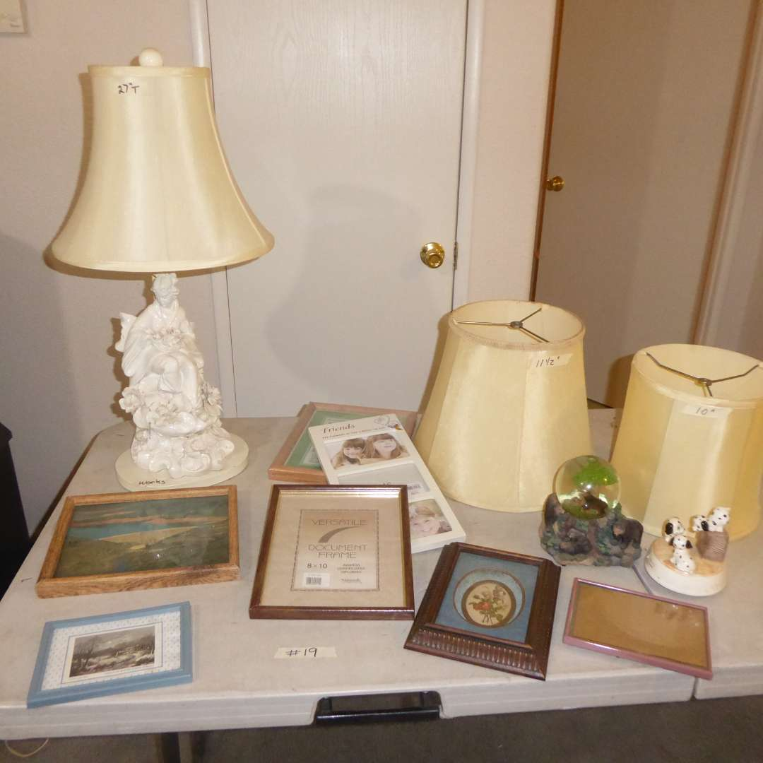 Lot # 19 - Porcelain Table Lamp, Frames, Dam Photograph & Vintage Otagiri Music