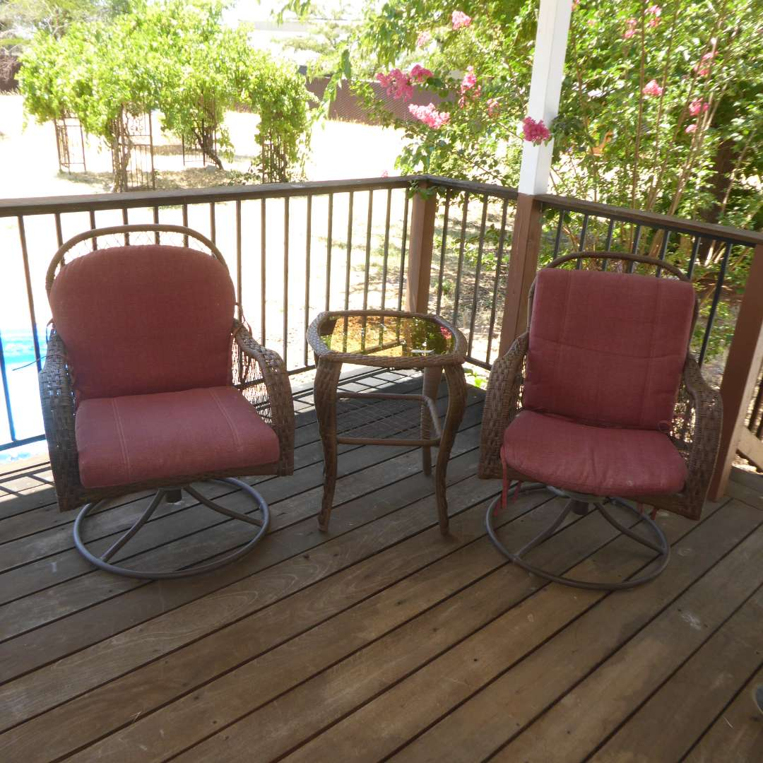 Lot # 20 - Two Outdoor Swivel Rocker Chairs & Small Matching Table  (main image)