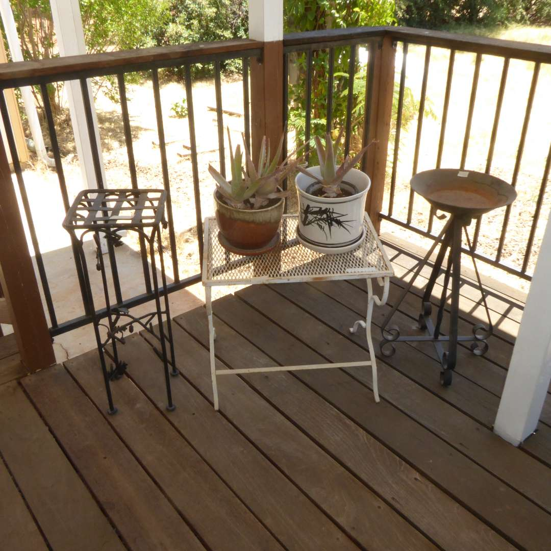 Lot # 22 - Three Vintage Metal Plant Stands & Two Plants In Ceramic Planters (main image)