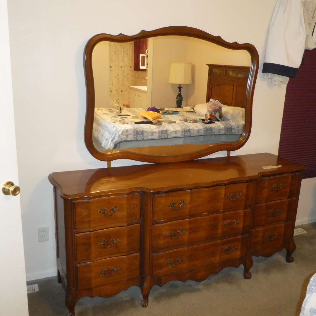 Lot # 54 - Beautiful Vintage Solid Wood Dresser w/ Mirror (Dovetail Drawers) (main image)