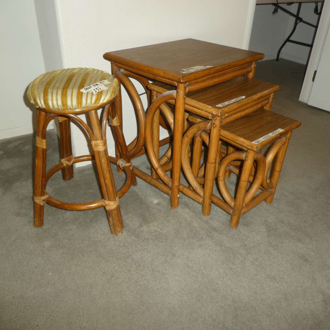 Lot # 56 - Vintage Rattan Nesting Tables and Stool