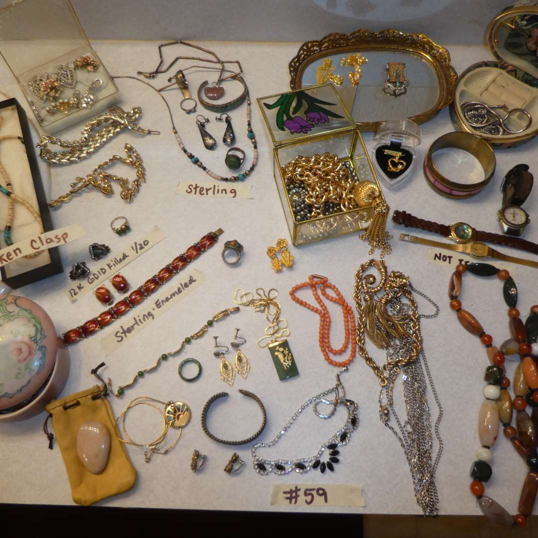 Lot # 59 - Assorted Jewelry Lot - Necklaces, Bracelets, Earrings, Rings and More (Some Sterling & Gold Filled) (See Pics)