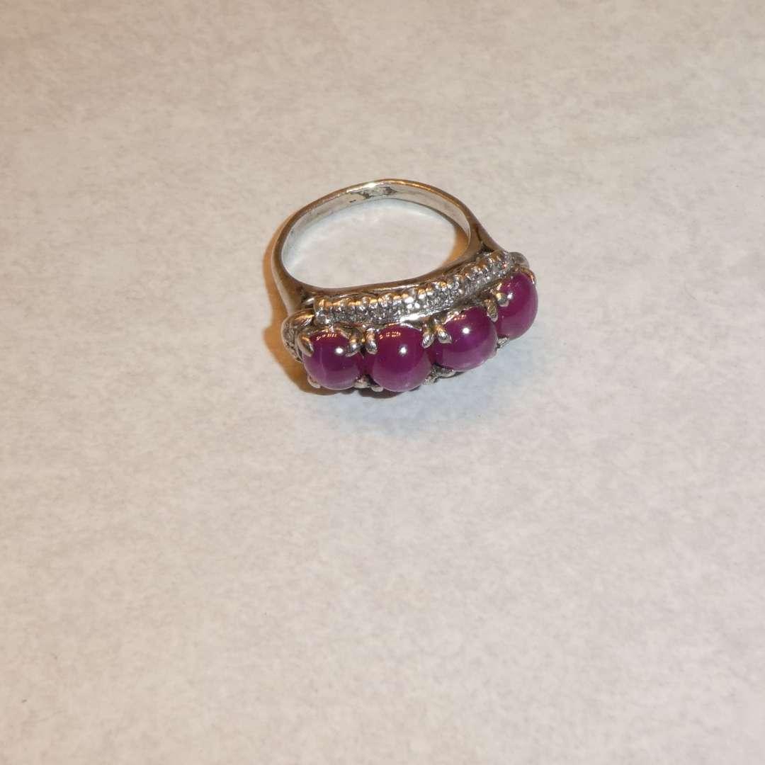 Lot # 61 - Ladies Platinum Ring Star Rubies & 22 Diamonds Size 4¼ (Star Rubies Not Tested)