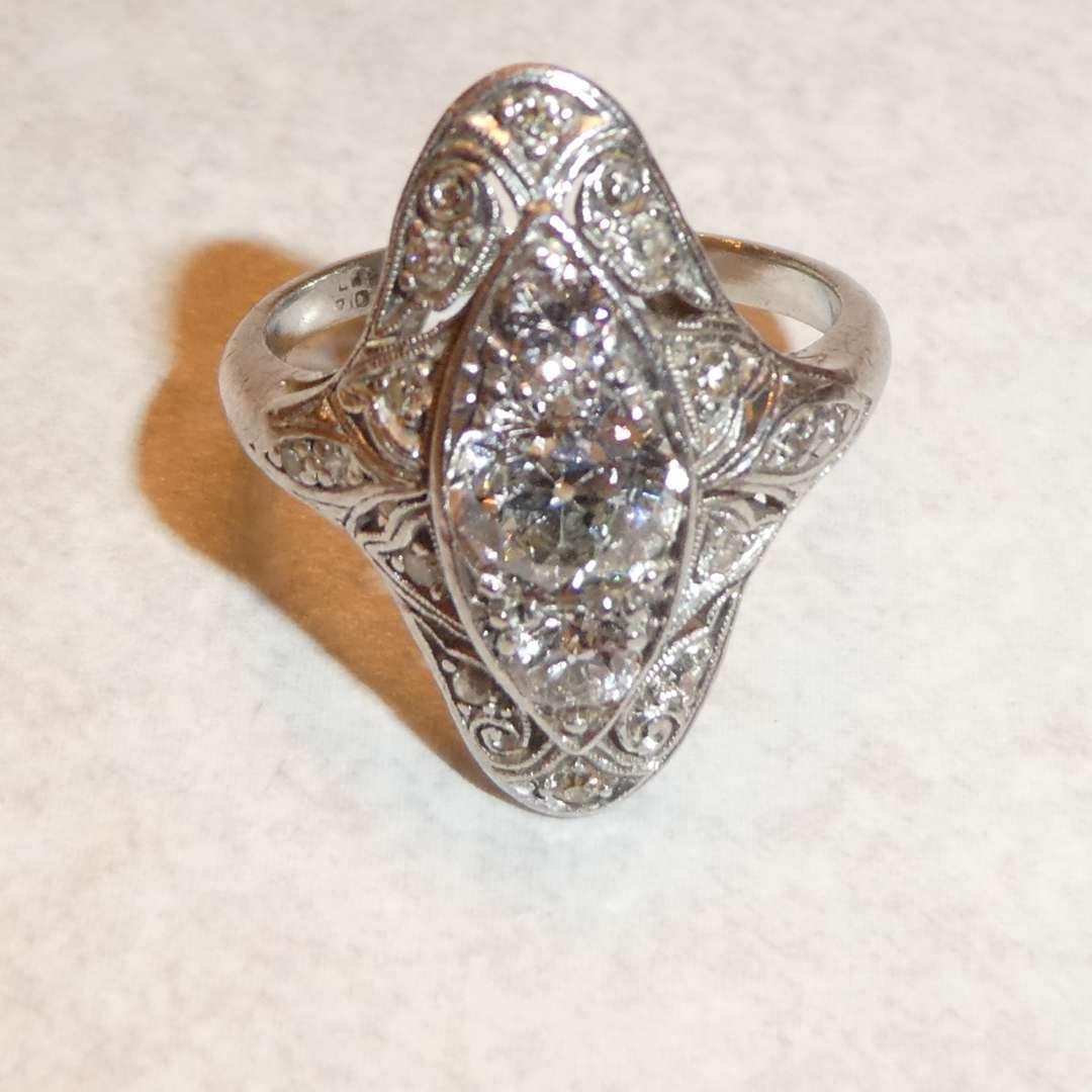 Lot # 62 - Beautiful Platinum Diamond Ring (17 Diamonds)(See Pics for Size) (main image)