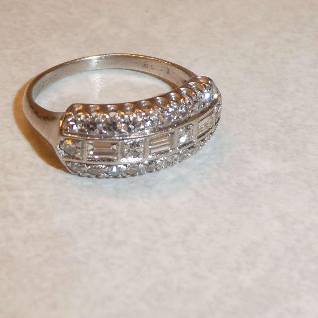 Lot # 63 - Beautiful 900 Platinum Diamond Ring (27 Diamonds)(See Pics for Size) (main image)