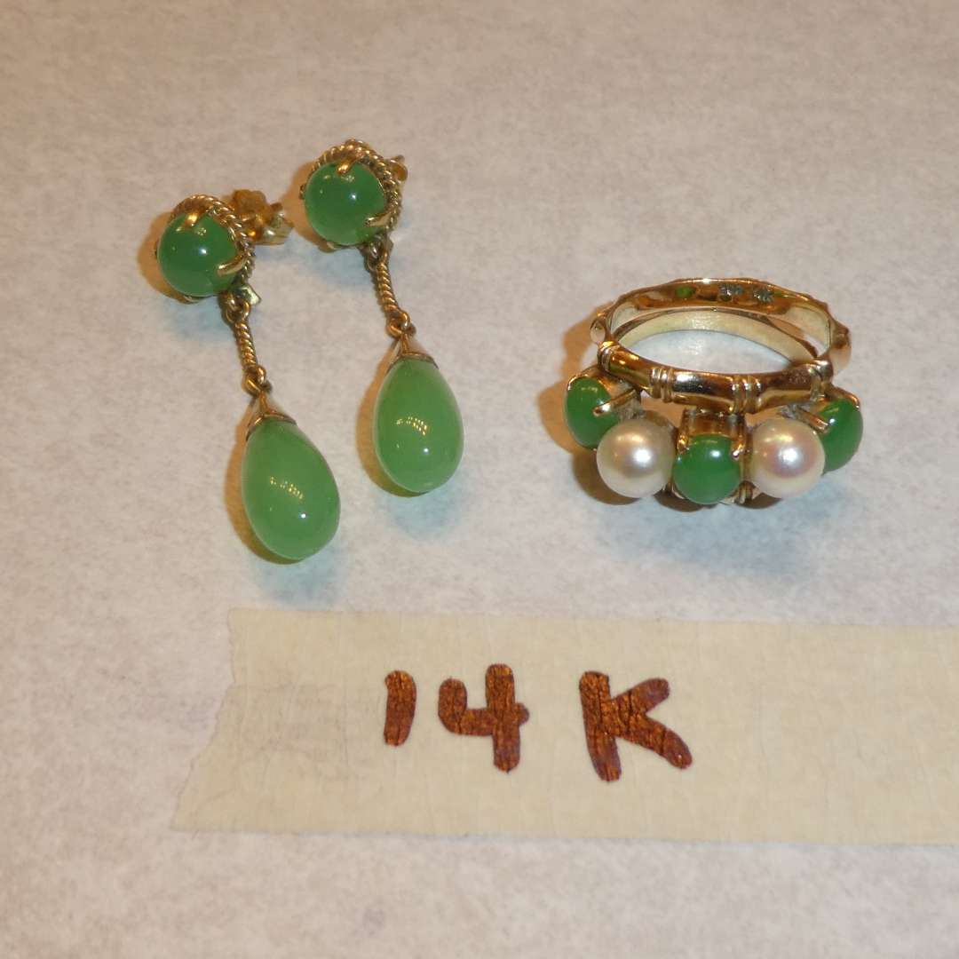 Lot # 65 - Matching 14k Gold Ring and Earrings w/ Beautiful Stones )(See Pics for Size)