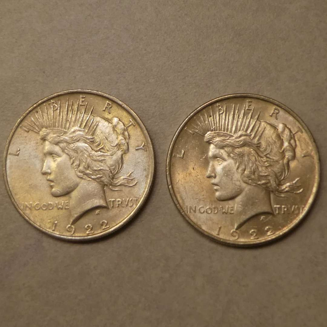 Lot # 69 - Two 1922 Peace Silver Dollar Coins (No Mint Mark) (main image)