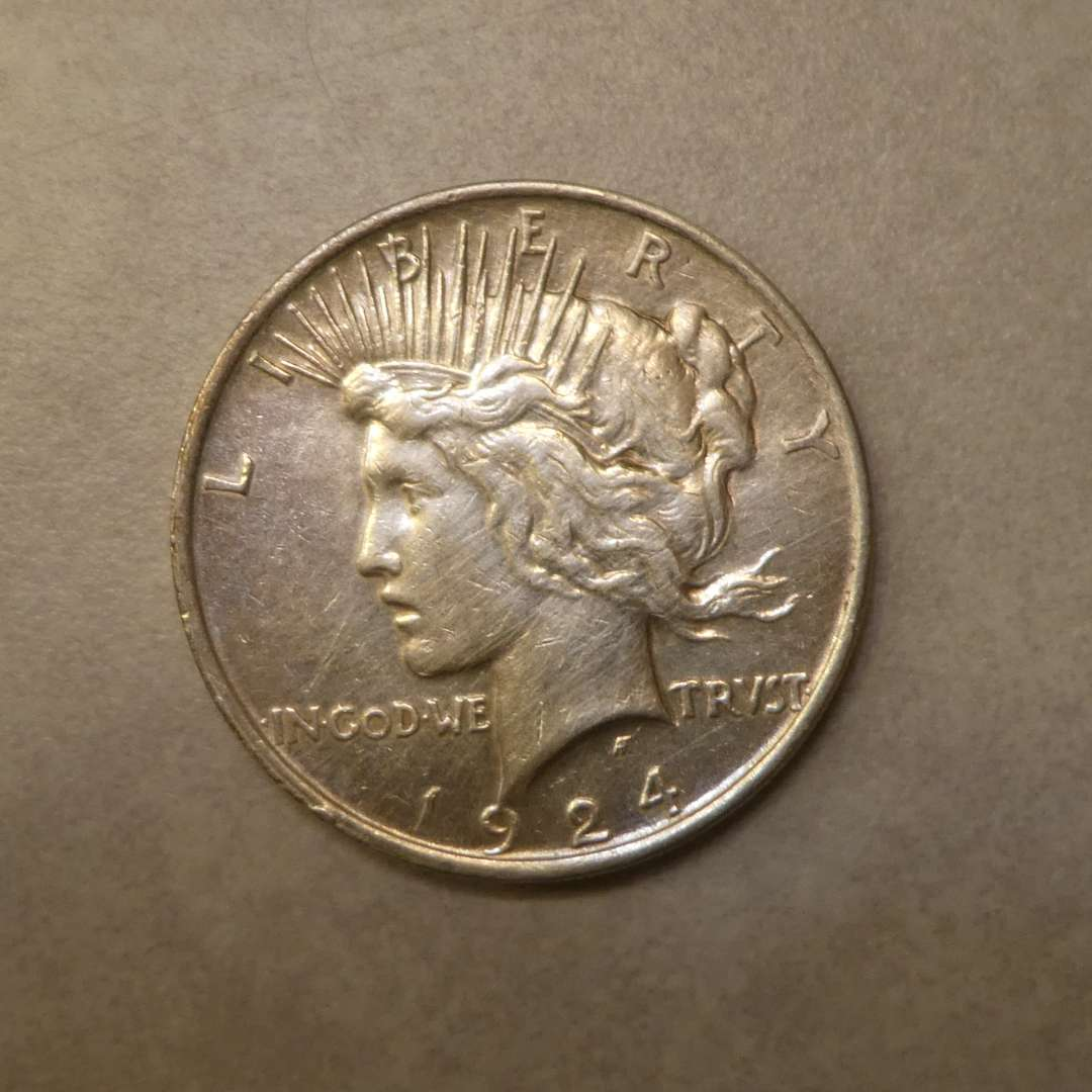 Lot # 70 - 1924 Peace Silver Dollar Coin (No Mint Mark) (main image)