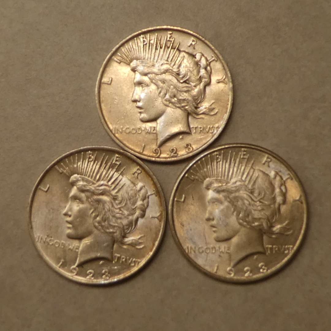 Lot # 71 - Three 1923 Peace Silver Dollar Coins (No Mint Mark) (main image)