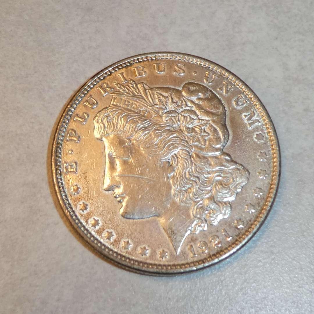 Lot # 73 - 1921 Morgan Silver Dollar Coin (No Mint Mark) (main image)