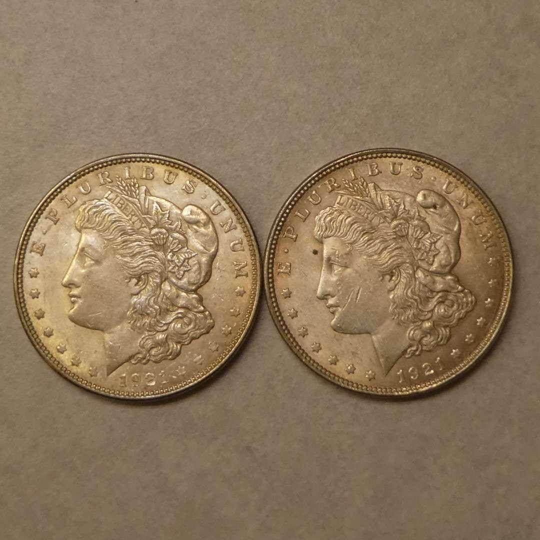 Lot # 74 - Two 1921 Morgan Silver Dollar Coins (No Mint Mark) (main image)