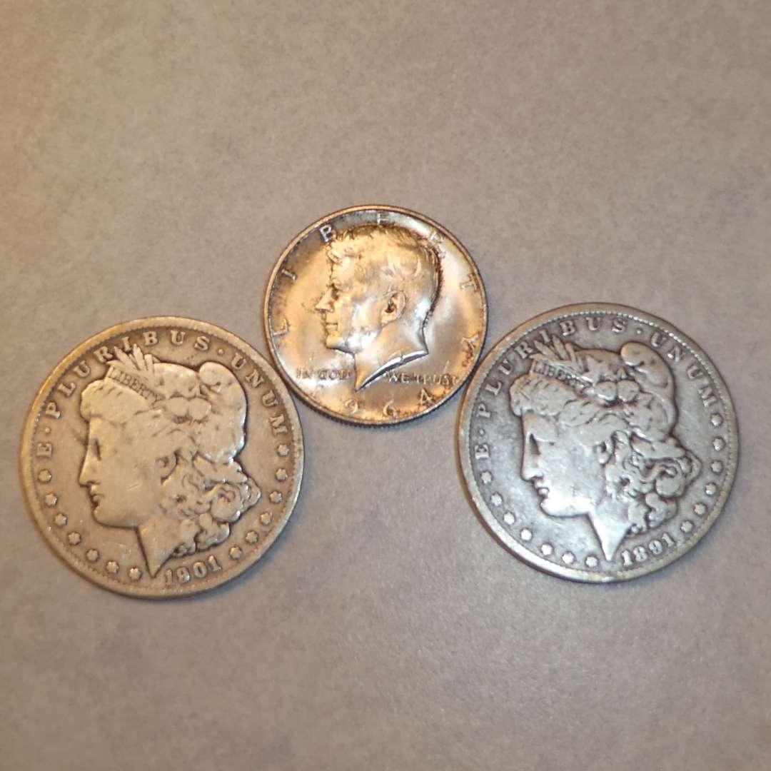 Lot # 77 - Two Morgan Silver Dollar Coins (1891 & 1901) and 1964 Half Dollar Coin (No Mint Marks)