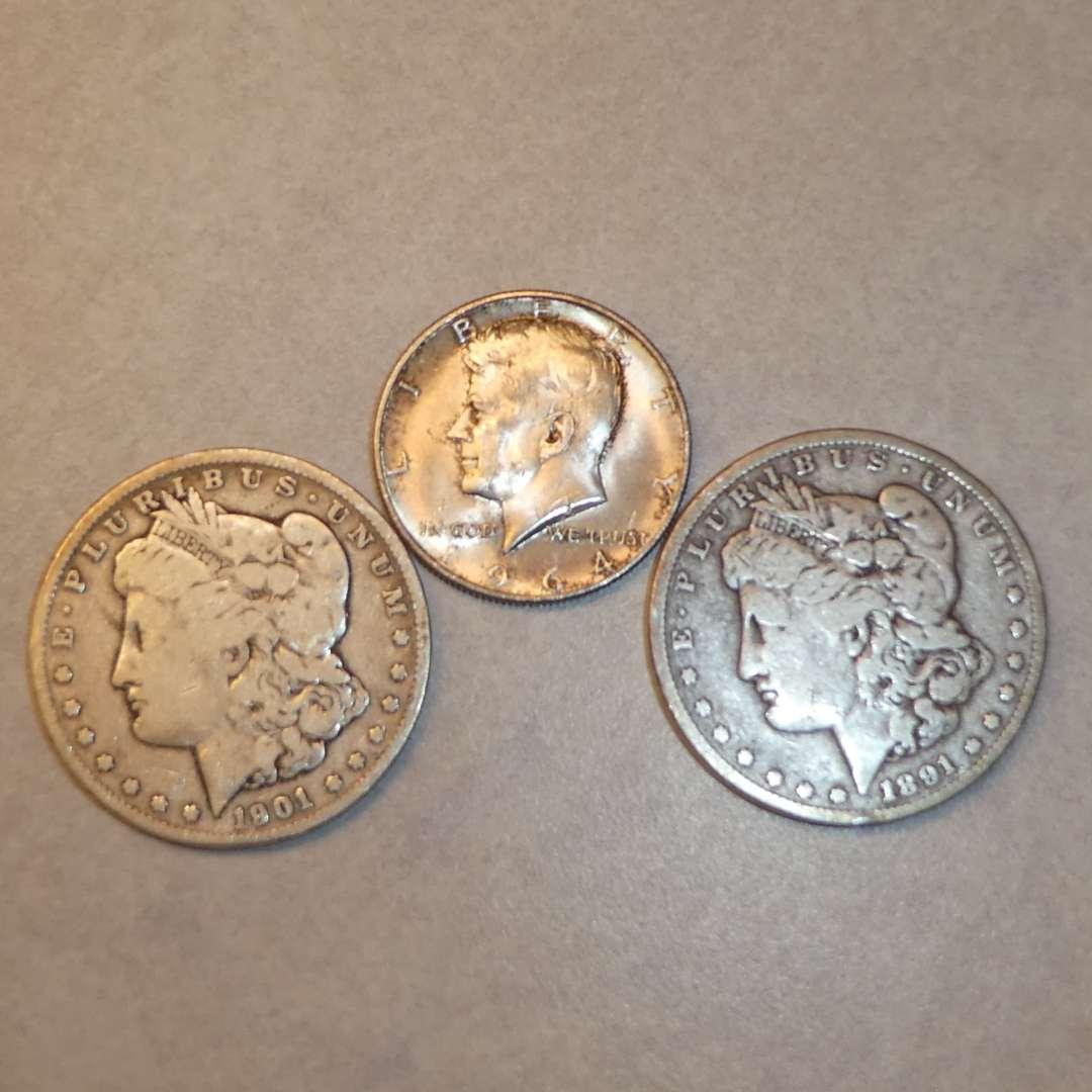 Lot # 77 - Two Morgan Silver Dollar Coins (1891 & 1901) and 1964 Half Dollar Coin (No Mint Marks) (main image)