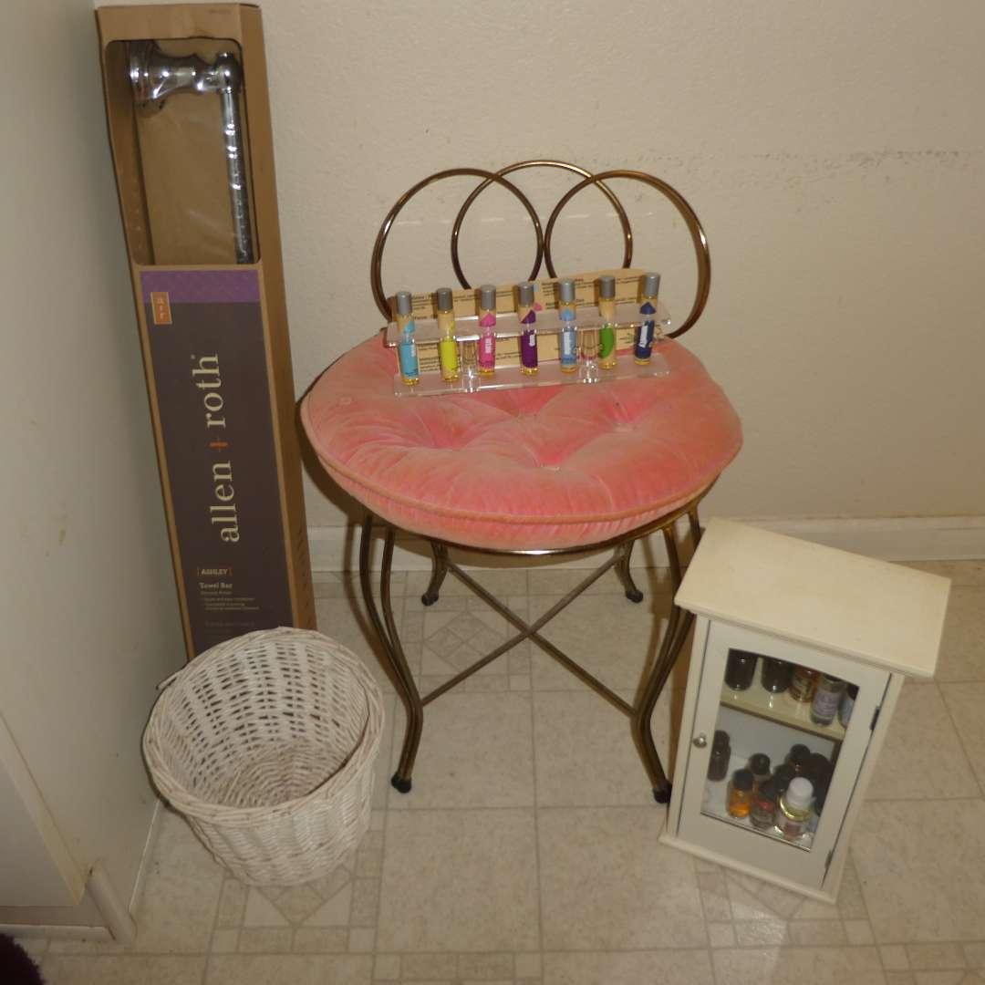 Lot # 79 - Cute Vintage Metal Vanity Chair, Variety of Scented Oils & Unopened Towel Rack
