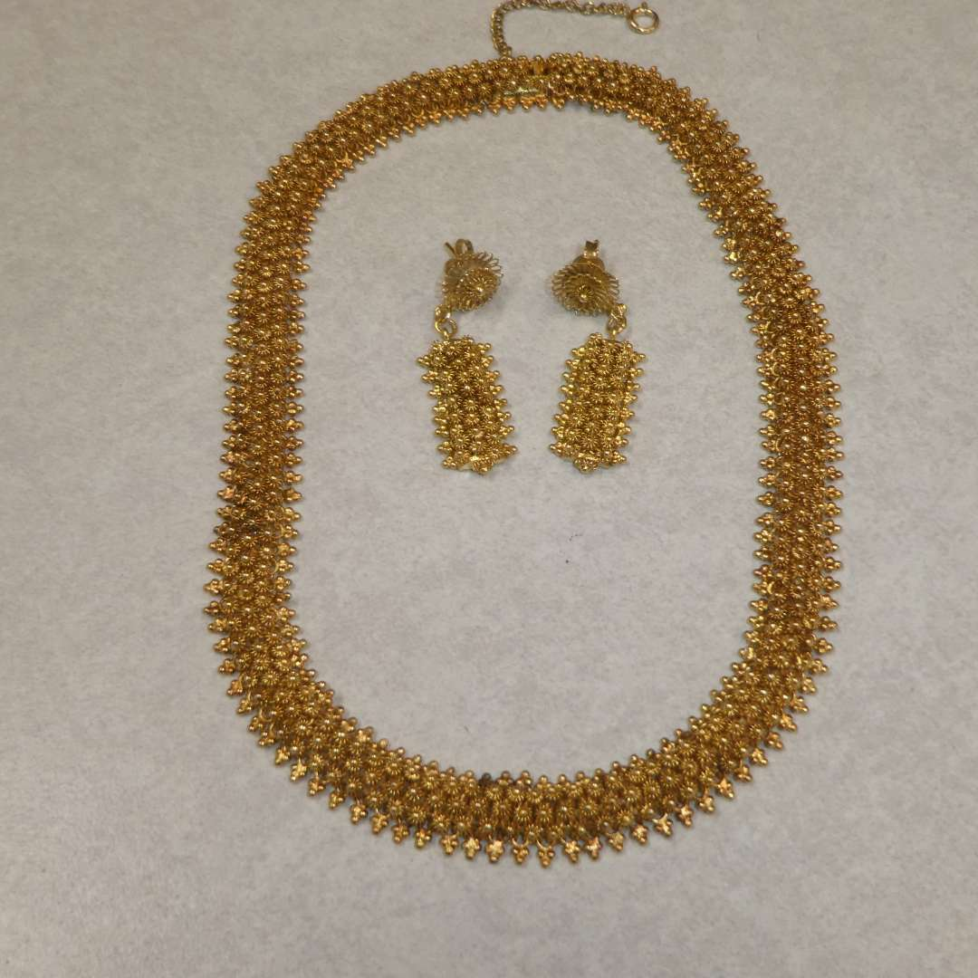 Lot # 82 - Nice Matching Gold Colored Choker Necklace and Earrings (main image)