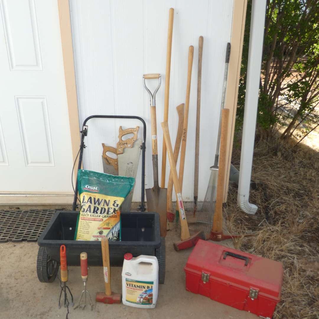 Lot # 150 - Garden Lot - Fertilizer Spreader, Shovels, Hand Saws, Axes and More