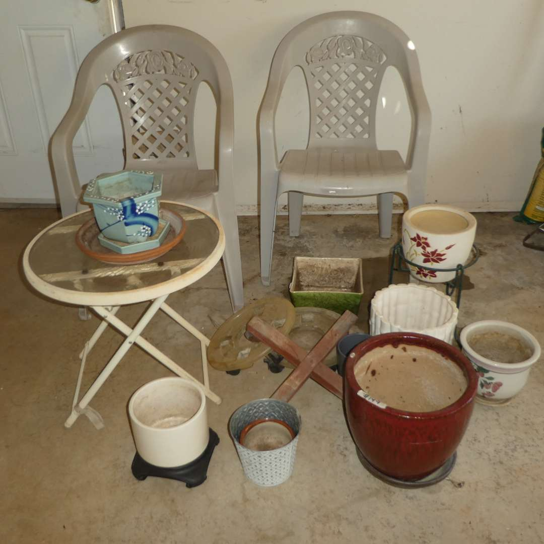 Lot # 149 - Variety of Ceramic Garden Pots and Two Plastic Outdoor Chairs with Small Glass Top Side Table  (main image)