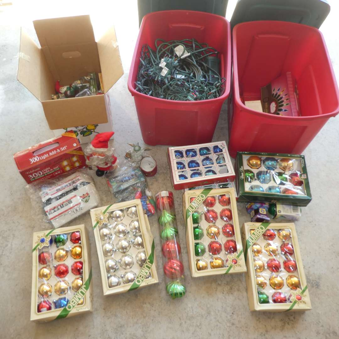 Lot # 148 - Variety of Christmas Lights and Ornaments (Lights Not Tested) (main image)