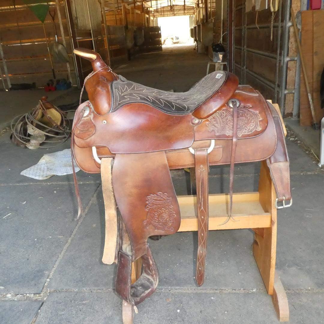 Lot # 58 - Circle Y Hand Tooled Western Saddle (main image)