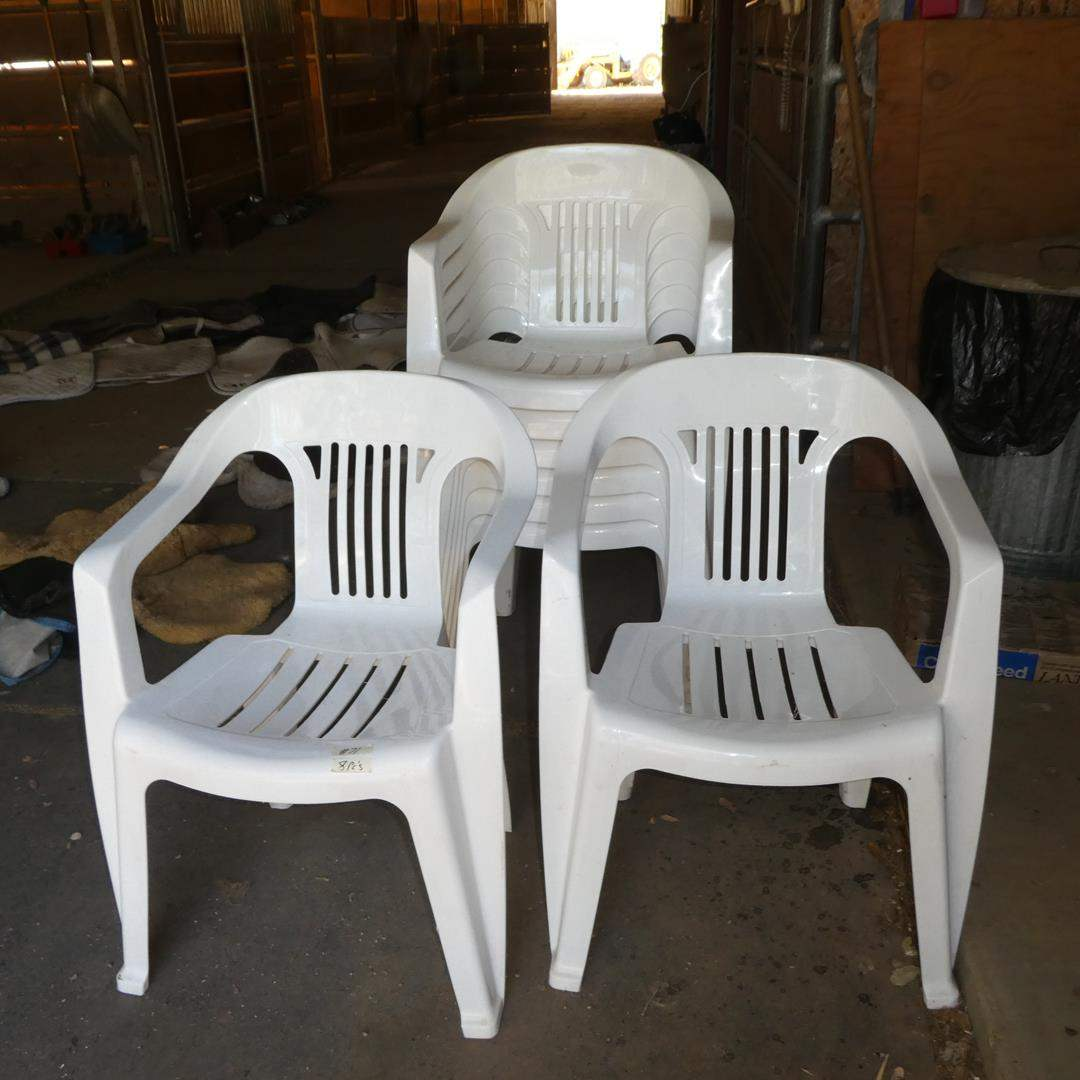 Lot # 71 - Eight Plastic Patio Chairs