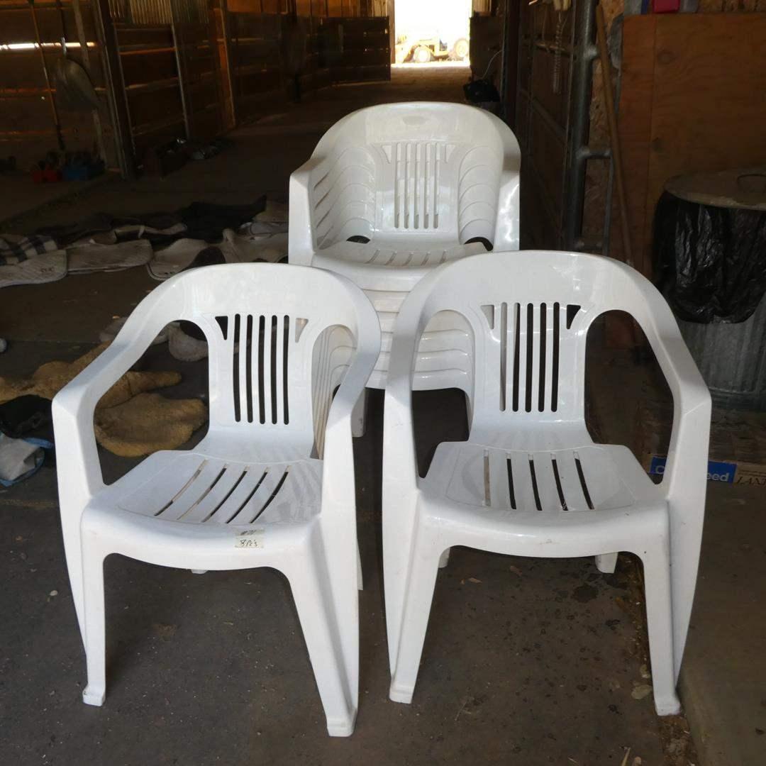 Lot # 71 - Eight Plastic Patio Chairs  (main image)
