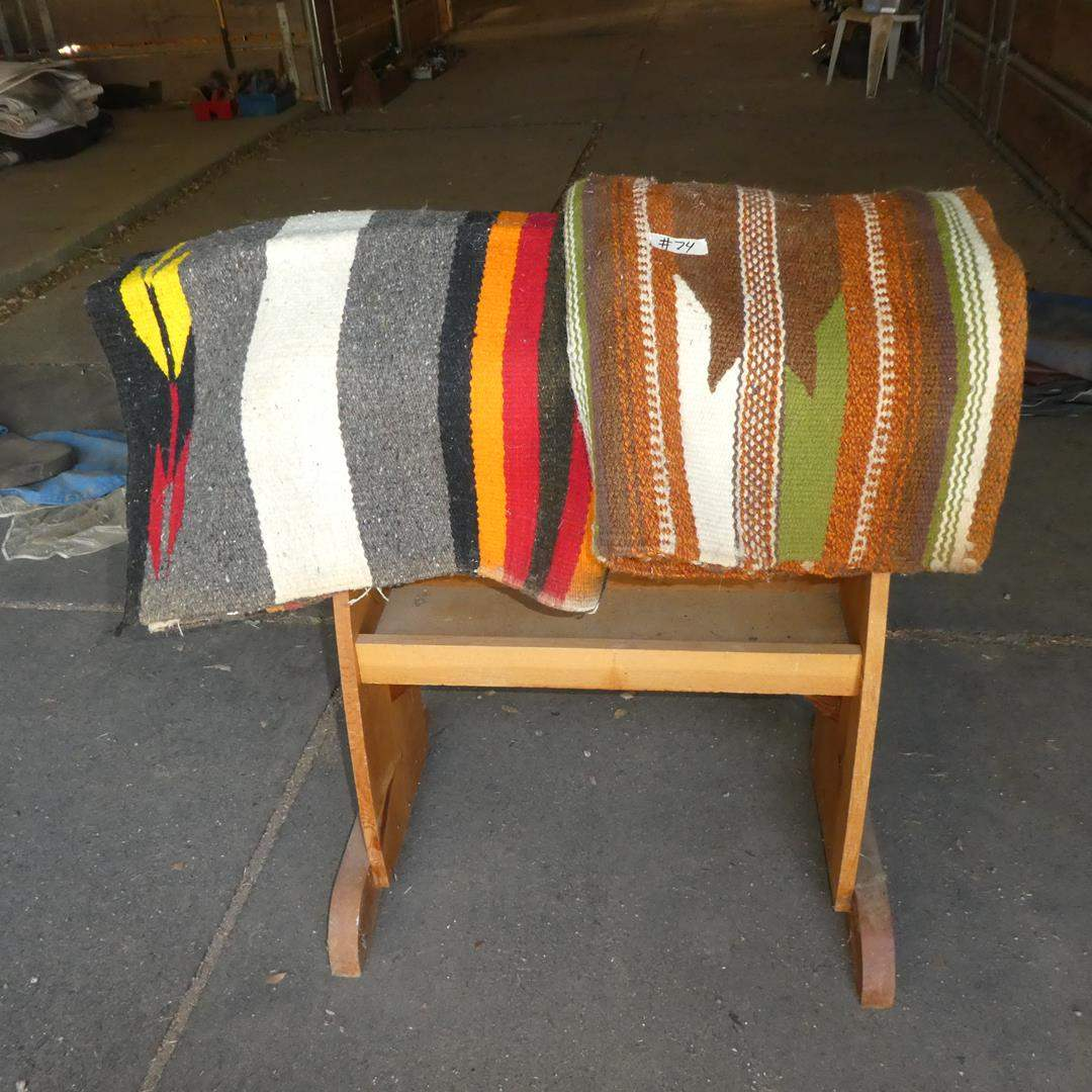 Lot # 74 - Two Western Horse Blankets & Wooden Saddle Rack (main image)
