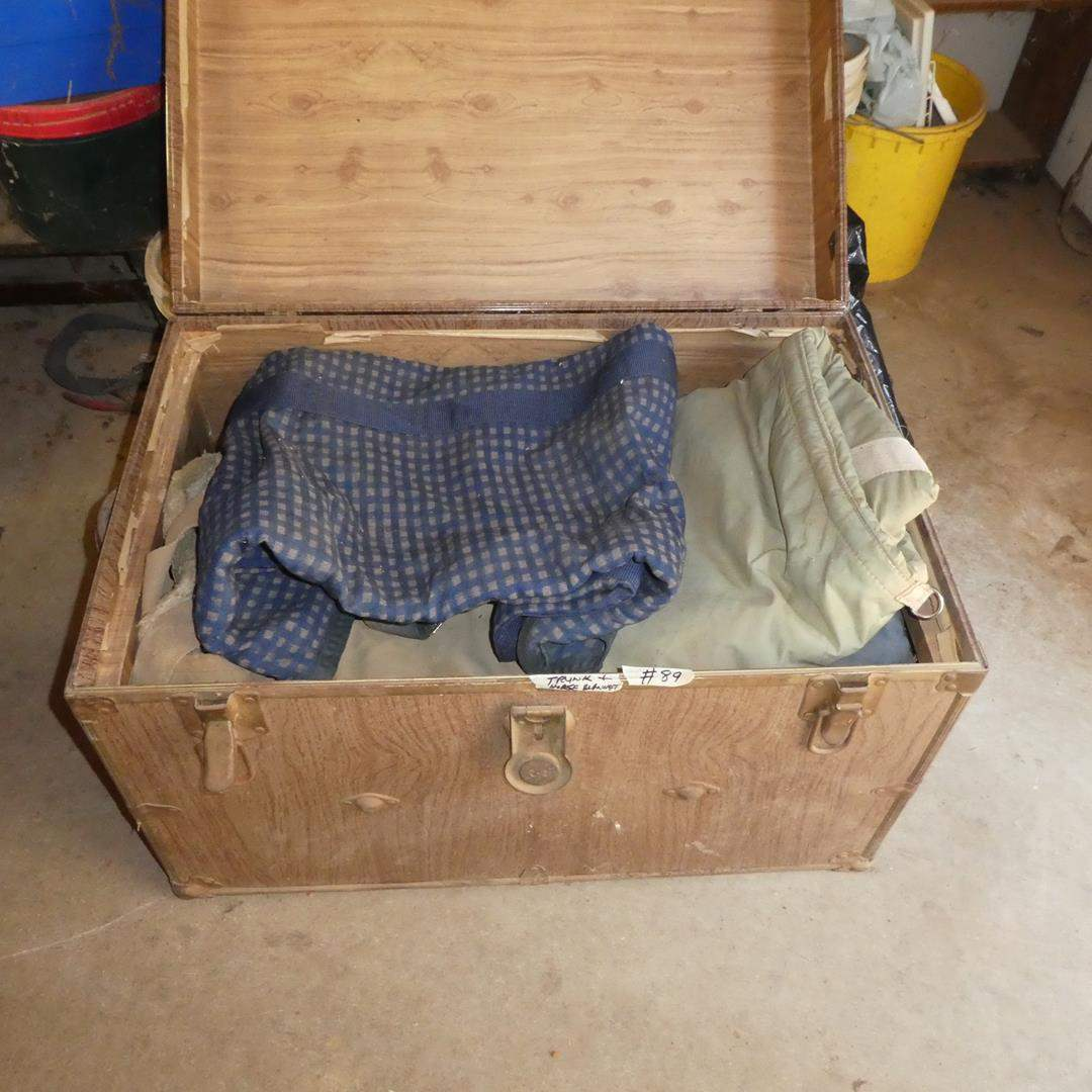 Lot # 89 - Old Trunk Full of Horse Blankets (main image)
