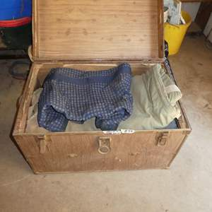 Lot # 89 - Old Trunk Full of Horse Blankets