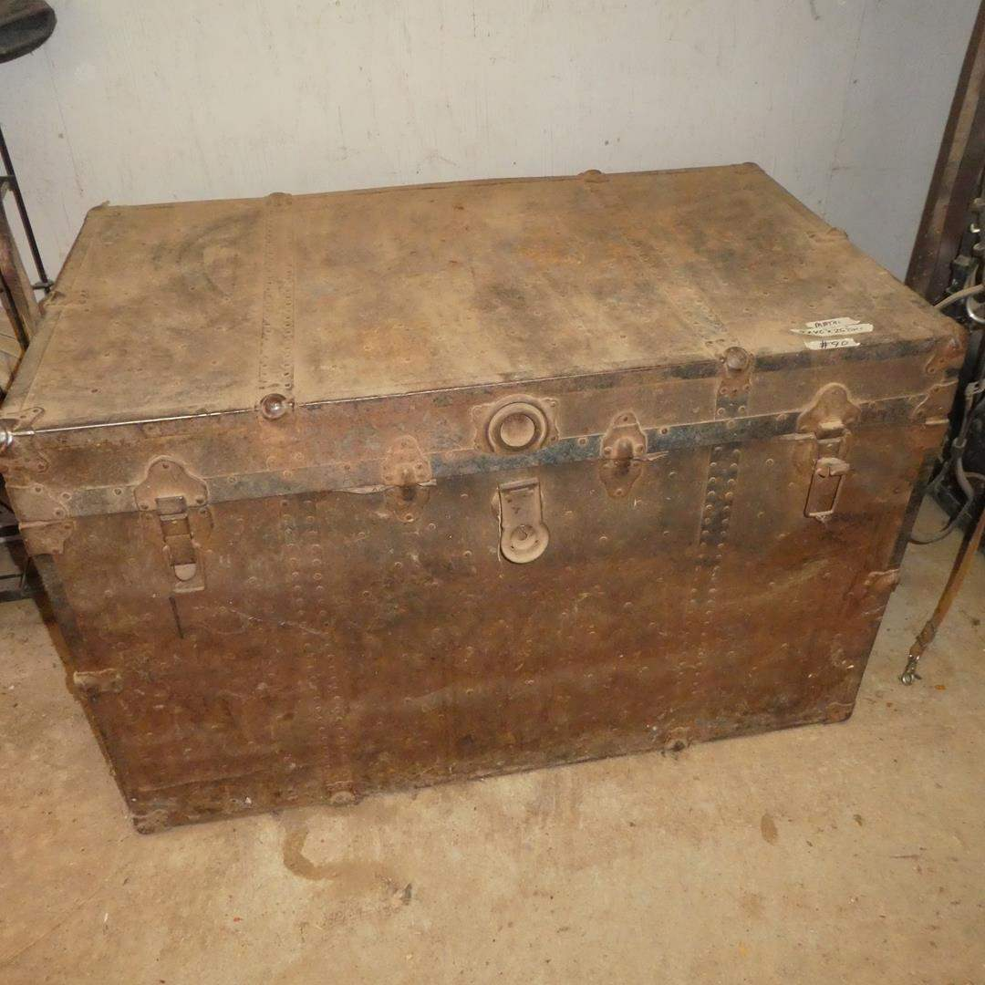 Lot # 90 - Old Trunk & Contents (main image)