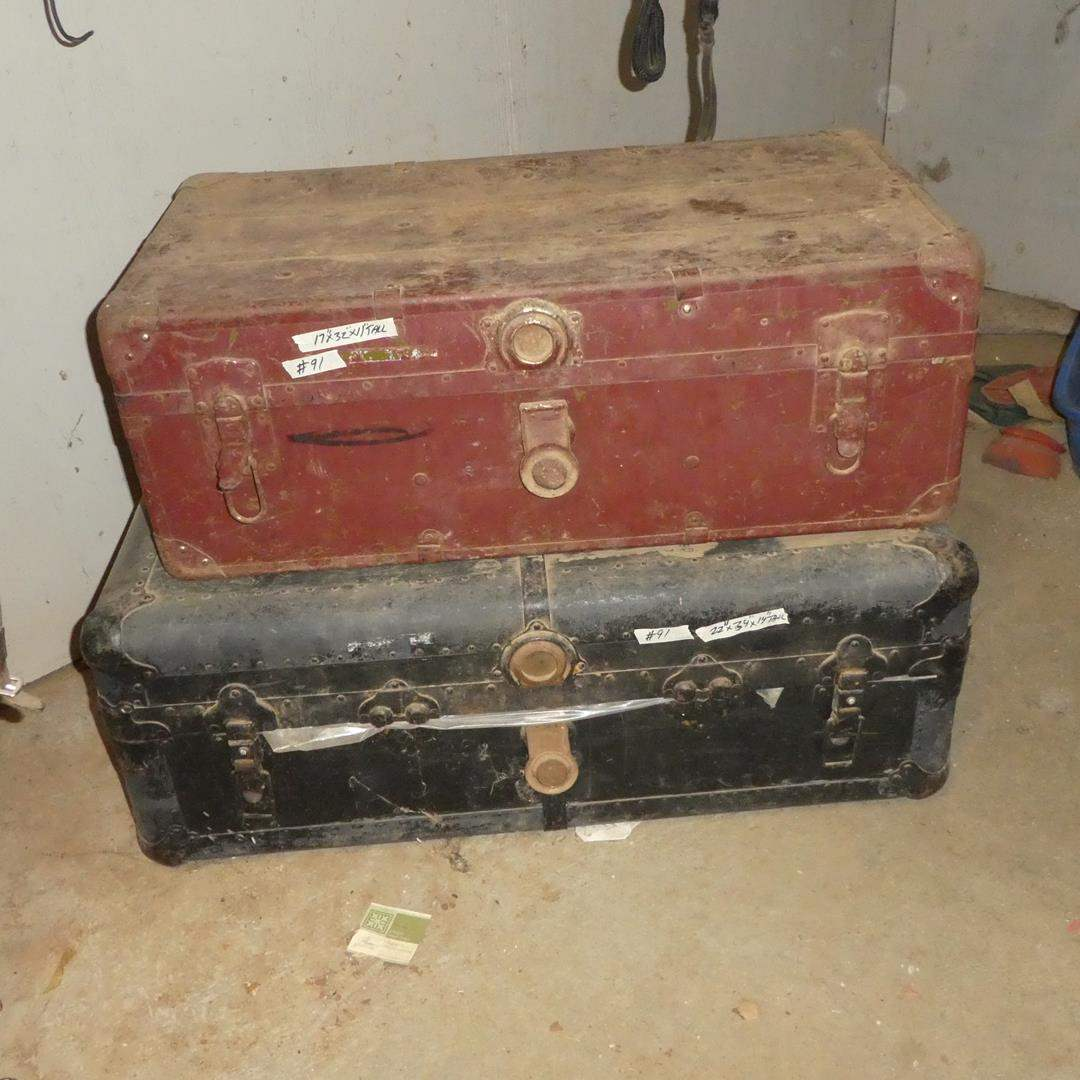 Lot # 91 - Two Old Trunks Full of Saddle Pads & Leg Wraps