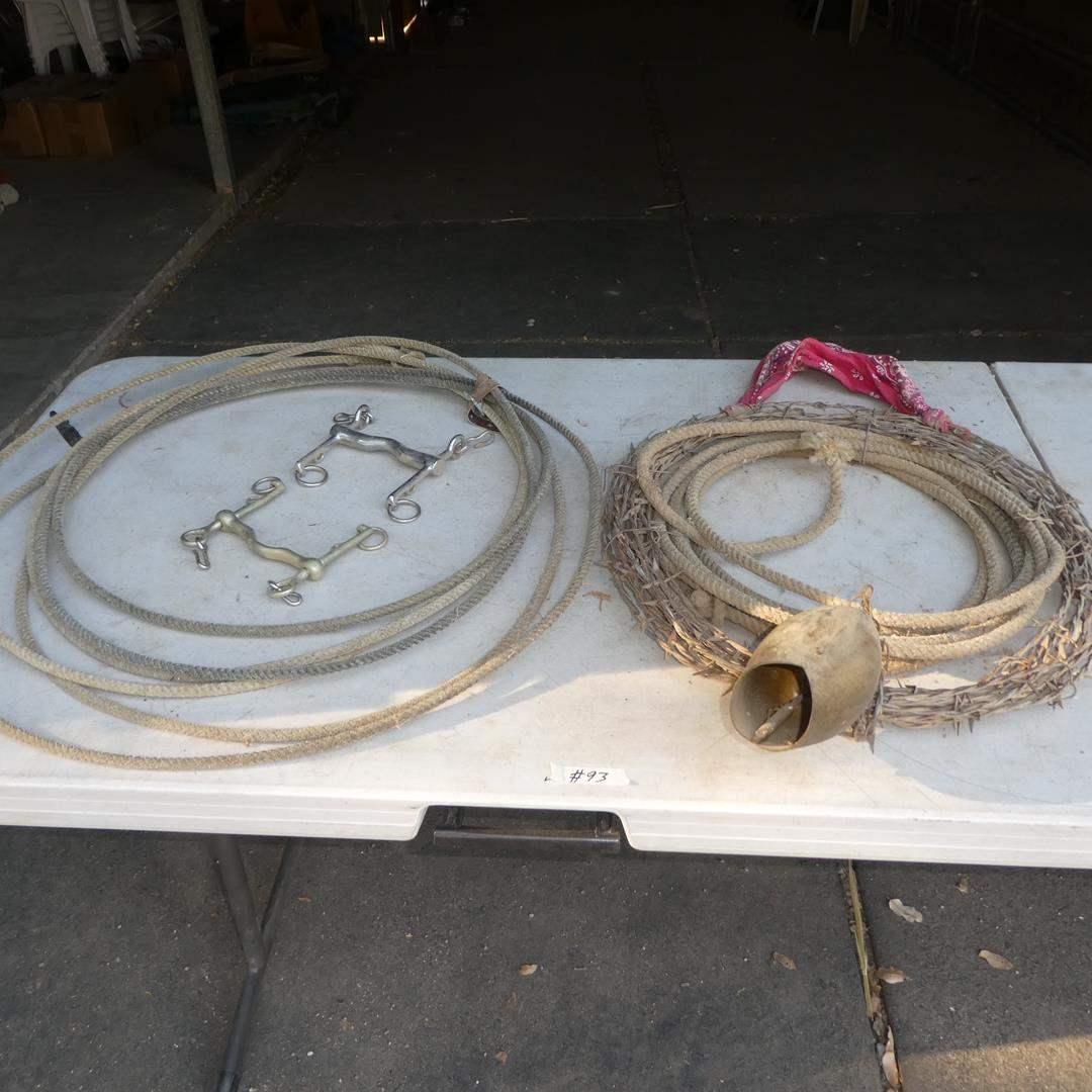 Lot # 93 - Two Horse Bits, Lasso & Western Barbwire Rope Bell Wreath (main image)
