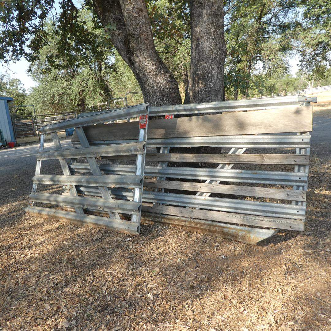 Lot # 97 - Two Metal Gates - One Is Good (One Has Some Wood Panels & Is Bent At Bottom) (main image)