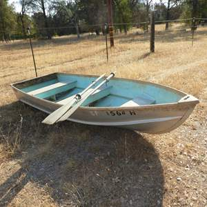 Lot # 98 - 12' x 4' Riveted Aluminum Boat w/Two Paddles