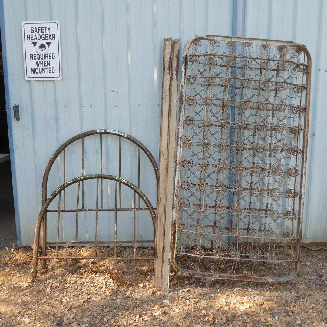 Lot # 101 - Vintage Metal Twin Size Headboard, Footboard on Casters w/Rails & Vintage Metal Coil Box Spring (main image)