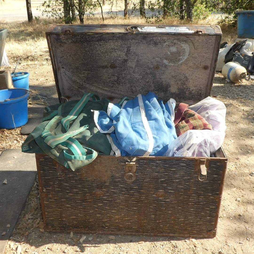 Lot # 104 - Horse Fly Blankets, Anti-Sweat Coolers, Sheets & Old Metal Trunk (main image)