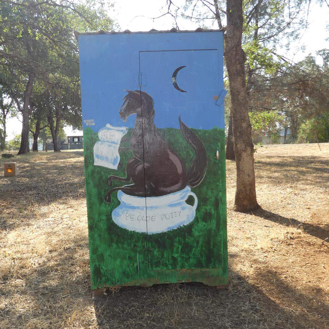 Lot # 105 - Painted Horse Motif Outhouse (main image)