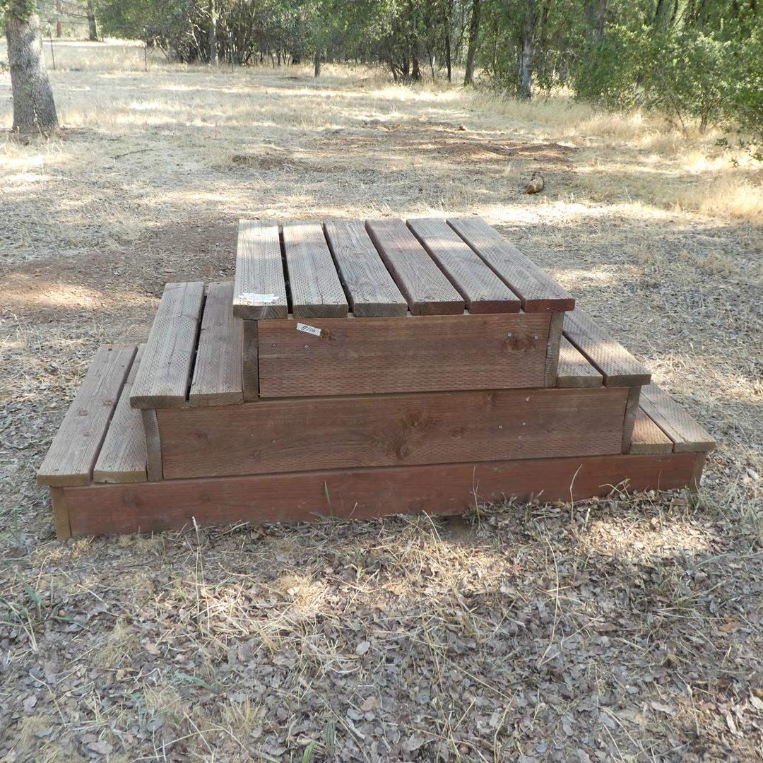 Lot # 106 - Wooden Three Step Mounting Blocks (main image)