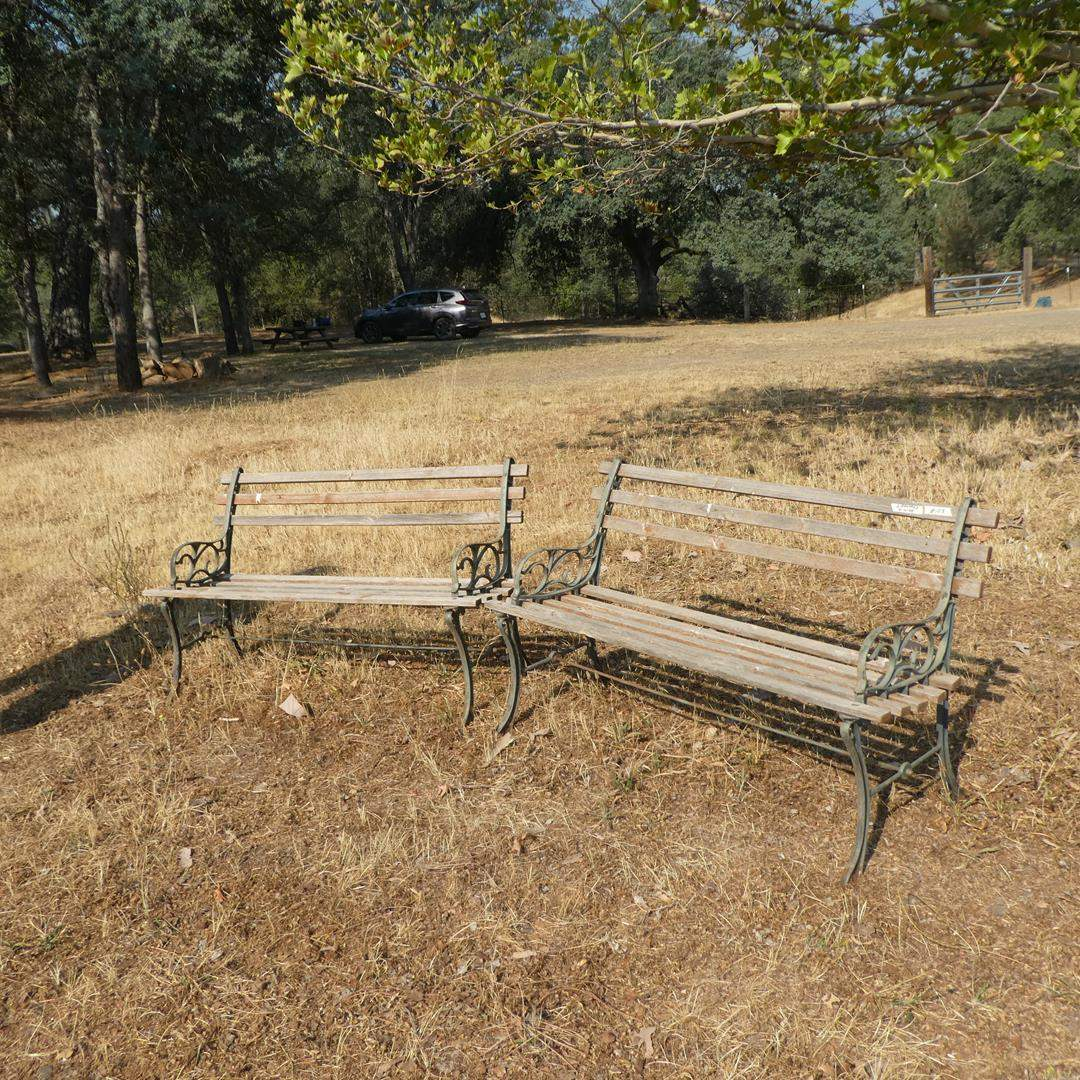 Lot # 108 - Two Wooden Benches w/Metal Frames