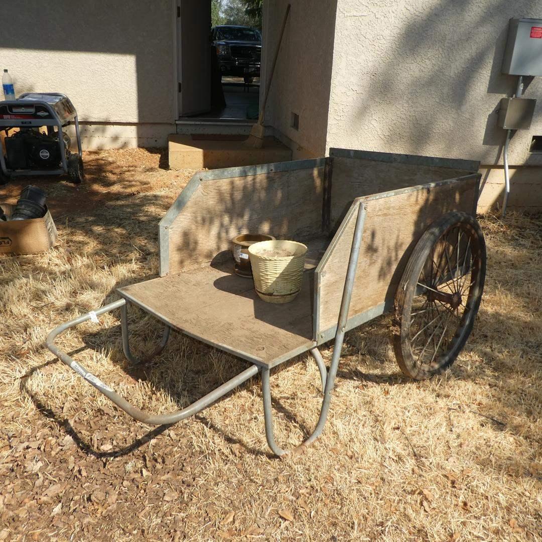 Lot # 132 - Wooden Garden Cart - Needs New Tires (main image)