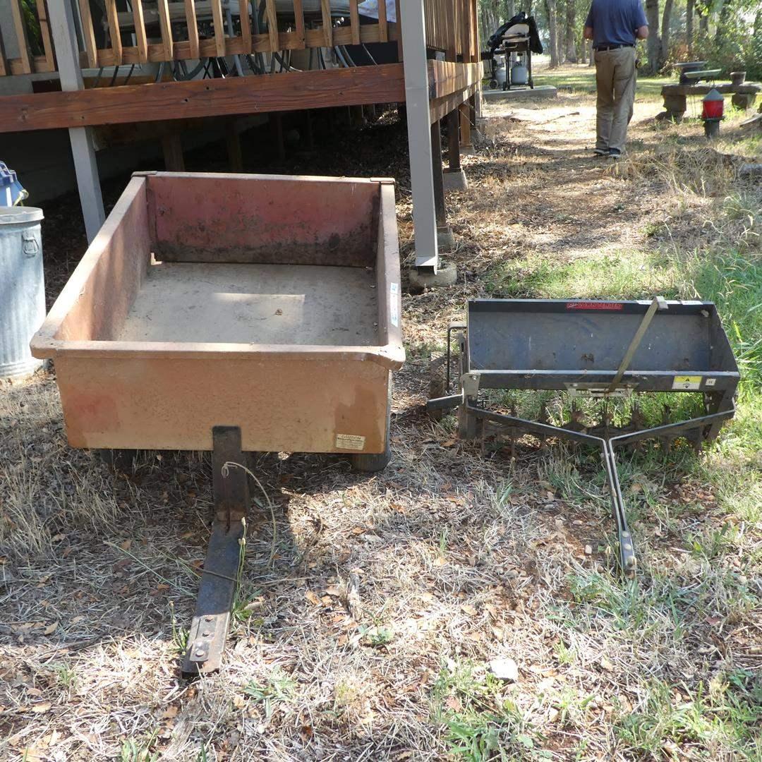 Lot # 133 - Small Dump Trailer & Lawn Aerator  (main image)