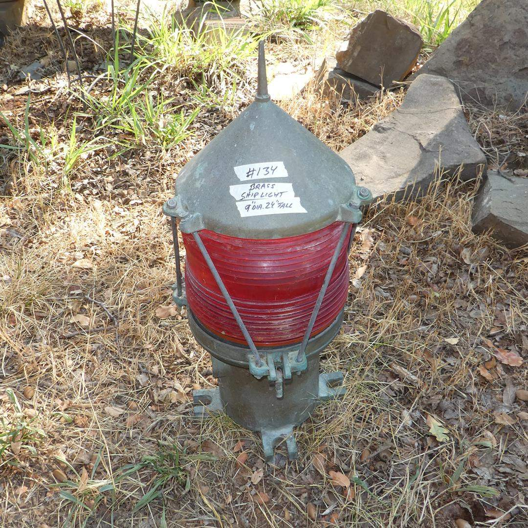 Lot # 134 - Large Vintage Nautical Brass Buey Lantern w/Red Glass Globe (main image)