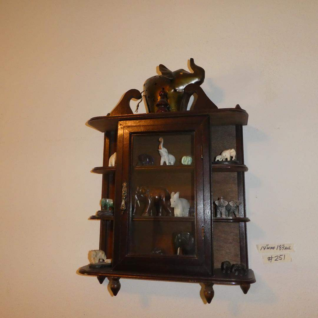 Lot # 251 - Small Wall Hanging Curio Cabinet & Collectible Elephant Figurines (main image)