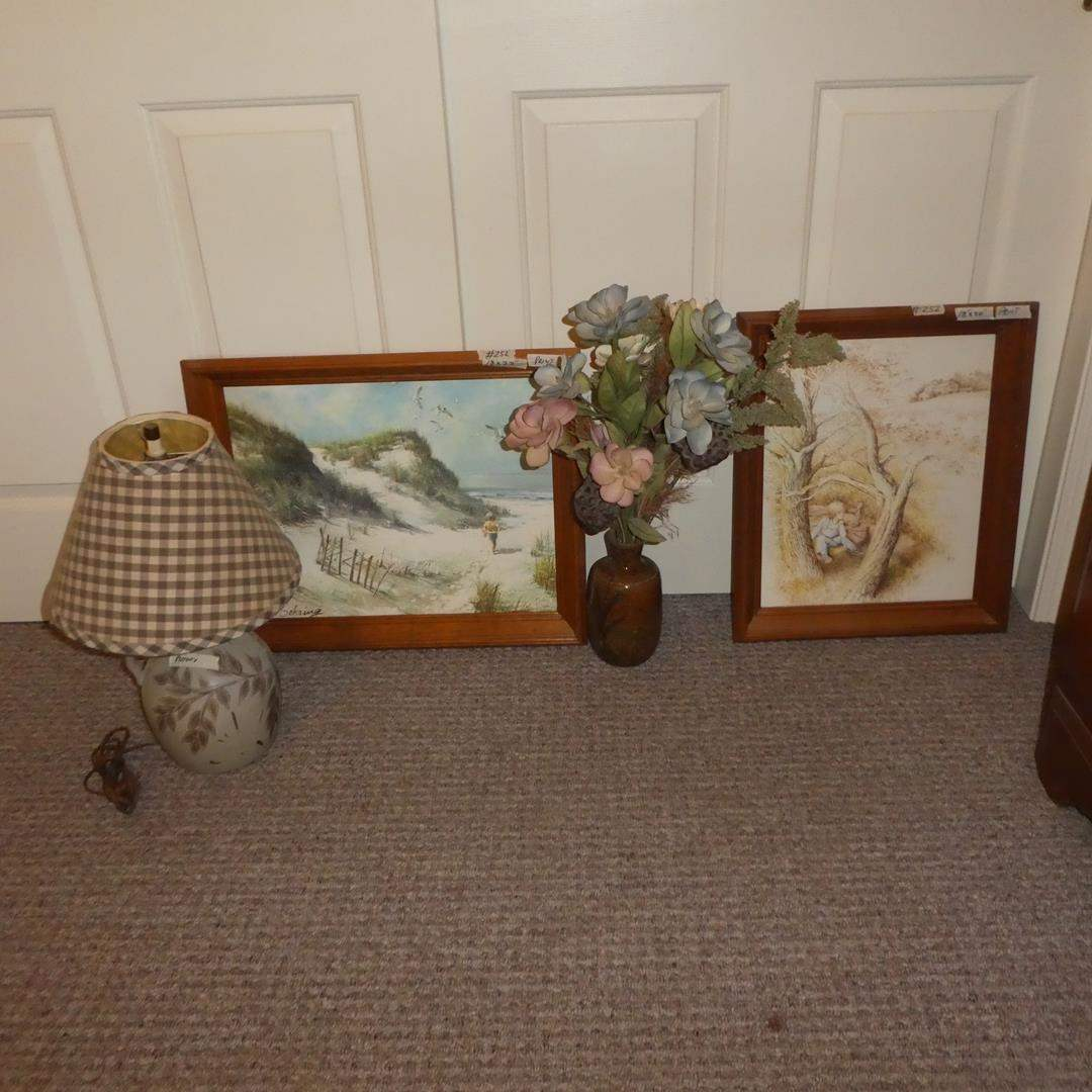 Lot # 252 - Pottery Table Lamp, Signed Pottery Vase & Two Framed Prints (main image)
