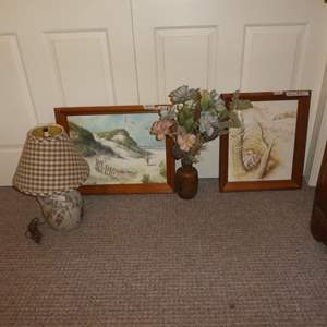 Lot # 252 - Pottery Table Lamp, Signed Pottery Vase & Two Framed Prints