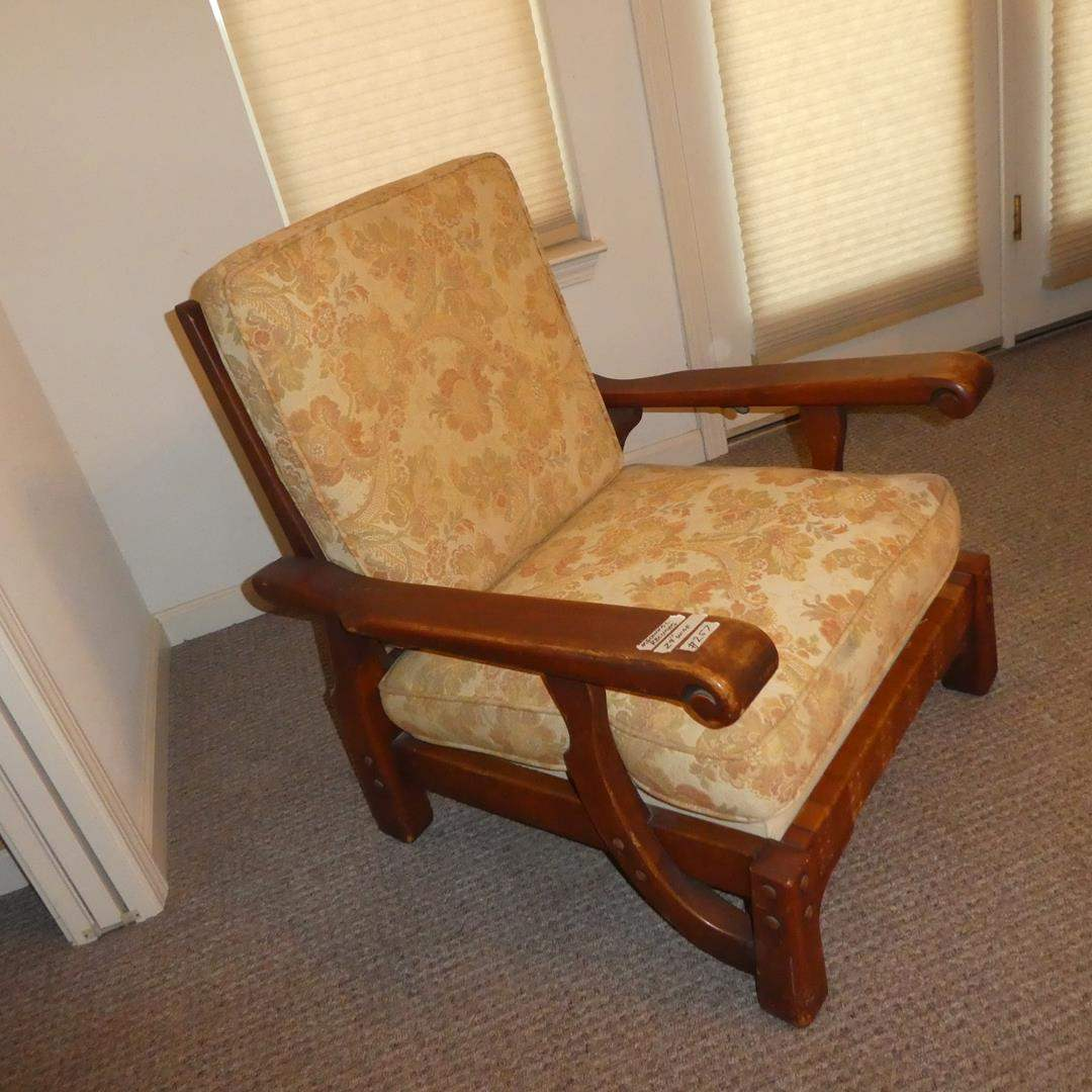 Lot # 257 - Vintage/Antique Wood Framed Mechanical Reclining Arm Chair (main image)