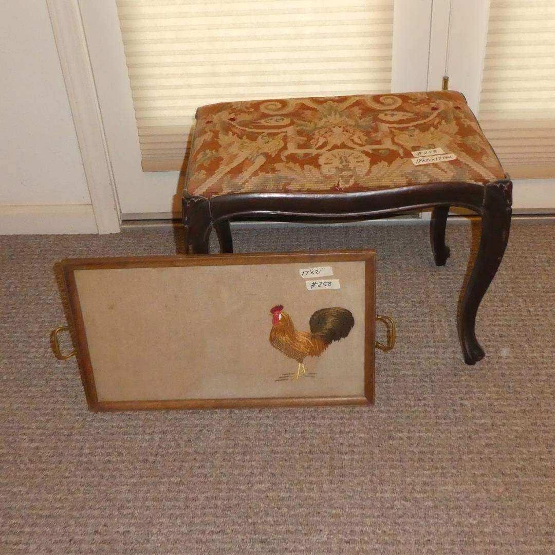 Lot # 258 - Vintage Needlepoint Tapestry Bench & Needle Work Rooster Tray (main image)