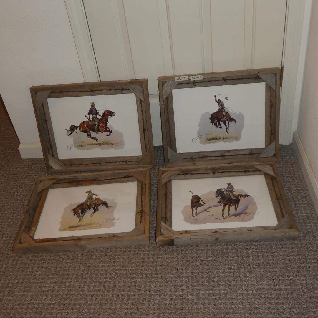Lot # 259 - Four Western Custom Framed Fredric Remington Prints (main image)