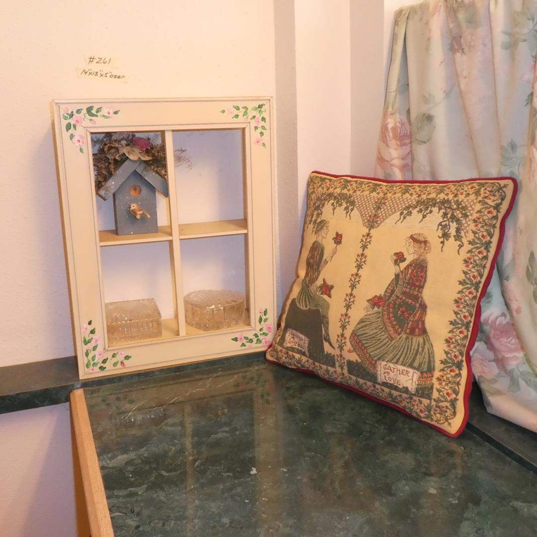 Lot # 261 - Small Tole Painted Shelf, Glass Trinket Boxes & Throw Pillow