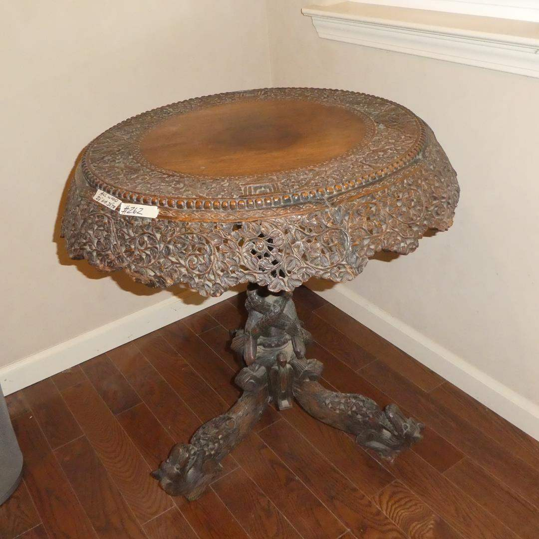 Lot # 262 - Unique Antique Oriental Hand Carved Ornate Pictorial Accent Table (main image)